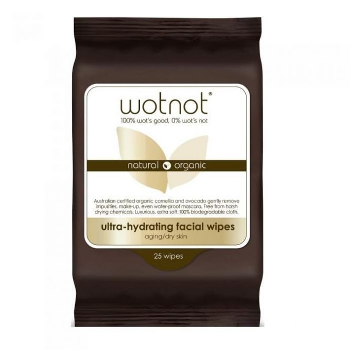 brown packet of face wipes ultra hydrating